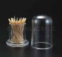 """3"""" Round Acrylic Toothpick Holder with Cover"""