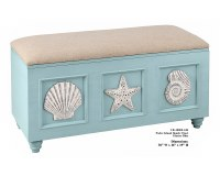 "19"" x 38"" Glacier Blue Shell Storage Bench"