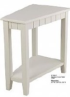 "24"" x 16"" White Corner Plantation Table with Shelf"