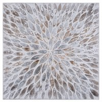 """40"""" Square Silver and Gold Abstract Petal Design Print"""