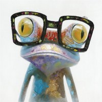 """20"""" Square Multicolored Hipster Froggy Canvas"""