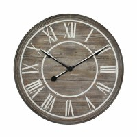 """31"""" Round Driftwood Clock with White Roman Numerals and a Galvanized Rim"""