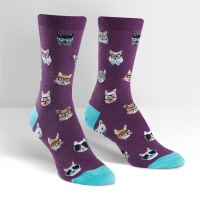 Purple and Aqua Smarty Cats Socks