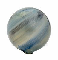 """3"""" Round Gold and Blue Painted Glass Orb"""