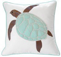"20"" Square Faux Leather Seafoam Sea Turtle Pillow"