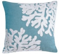 """18"""" Square White Beaded Coral on Turquoise Pillow"""