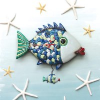 "12"" Fishy Lips Clock with Fish Pendulum"