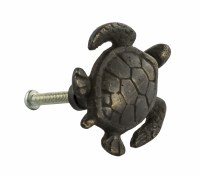 "1.5"" Small Distressed Dark Bronze Finish Turtle Pull"