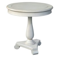 "28"" Round Distressed White Finish Pedestal Table"