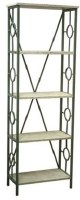 "72"" Distressed White and Green Finish Wood Etagere"