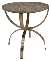 "24"" Round Marble Top Distressed Brass Finish Leg Table"