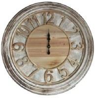 "28"" Round Whitewash Rustic Wall Clock"