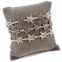 Large Distressed Silver Finish Line Starfish Stretch Bracelet