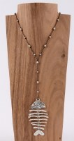 """46"""" Black and Silver Bonefish Necklace"""