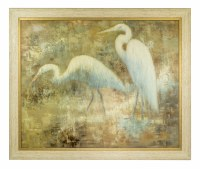 """48"""" x 58"""" 2 White Herons in Mist Canvas with Wood and Gold Frame"""