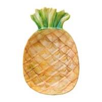 "7"" Tan and Green Melamine Pineapple Dish"