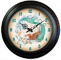 """18"""" Round Black Metal Bezel Mermaid Clock"""