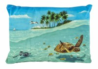 """13"""" x 19"""" Sea Turtle and Tropical Island Pillow"""