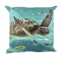 """19"""" Square Turquoise Sea Turtle and Fish Pillow"""