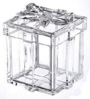 "5"" Square Clear Acrylic Ribbon Gift Box"