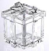 "4"" Square Clear Acrylic Ribbon Gift Box"