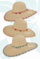 """5.5"""" Brim Fuchsia and Natural Hat with Shell Band"""