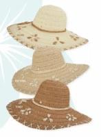 "5"" Brim Ivory Shell Trim Hat"