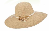 """4"""" Brim Natural Raffia Hat with Shell Charms"""