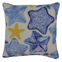 "17"" Square Cobalt Blue Starfish Pillow"