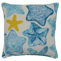 "17"" Square Blue Starfish Pillow"