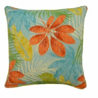 """17"""" Square Blue and Orange Whistling Leavse Pillow"""