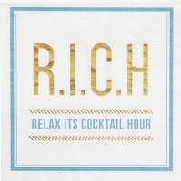 """5"""" Square Relax It's Cocktail Hour Beverage Napkins"""