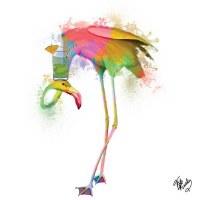 "5"" Square Multicolored Finnegan Flamingo Beverage Napkins"