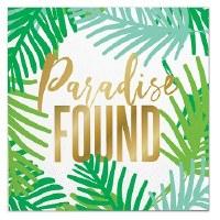 "5"" Square Paradise Found Foil Paper Beverage Napkins"