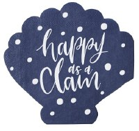 "4"" Happy as a Clam Die Cut Paper Beverage  Napkins"