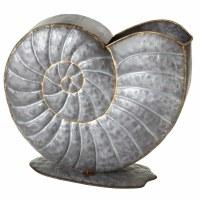 "17"" Galvanized Metal Nautilus Planter"