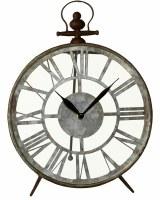 """13"""" Round Rustic Galvanized Metal Desk Clock"""