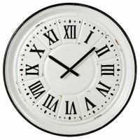"""31"""" Round Black and White Metal Wall Clock"""