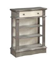 "36"" x 28"" Gray and Cream Bookcase with 3 Shelves and 1 Drawer"