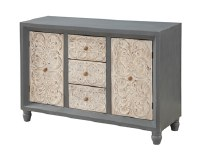 """30"""" x 49"""" Bedford Gray Credenza with Natural Carving on 2 Doors and 3 Drawers"""