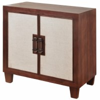 """35"""" Brown Wood Cabinet with Two Linen Doors"""