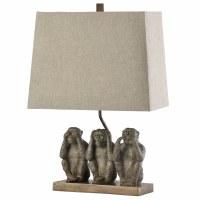 "21"" Three Bronze Monkeys Lamp with Hardback Rectangle Shade"
