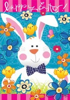 """40"""" x 28"""" Large Happy Easter with White Bunny Flag"""