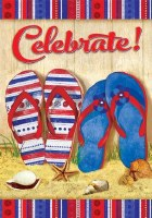 """18"""" x 12"""" Mini Celebrate Red, White, and Blue Flip Flop Flag"""