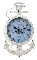 "31"" Distressed White Finish Anchor Roman Numeral Clock"