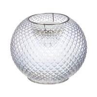 "8"" Round Clear Hobnail Glass LED Vase"