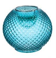 "8"" Round Blue Hobnail Glass LED Vase"