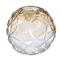 """10"""" Round Amber and Clear Gass LED Vase"""