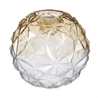 """8"""" Round Amber and Clear Glass LED Vase"""