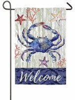 "18"" x 13"" Mini Welcome Blue Crab Garden Flag"